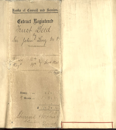 Deed of Trust - Front Cover